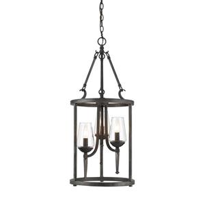 Golden Lighting Marcellis 3-Light Pendant Light - Dark Natural Iron