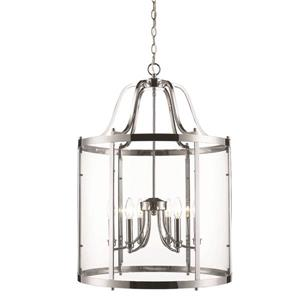 Golden Lighting Payton 6-Light Pendant Light with Clear Glass - Chrome