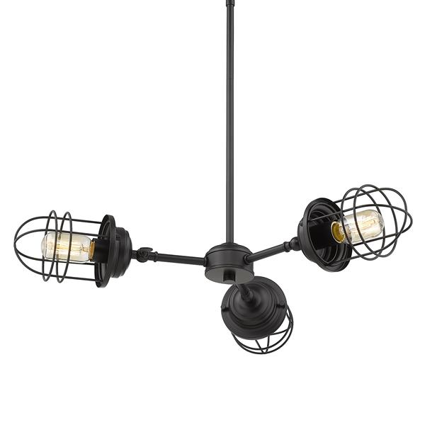 Golden Lighting Seaport 3-Light Chandelier - Black