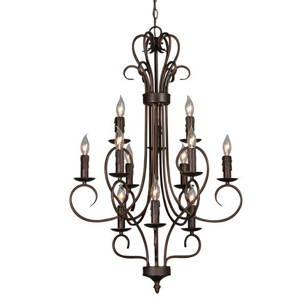 Golden Lighting Candelabra 12-Light Chandelier - Rubbed Bronze