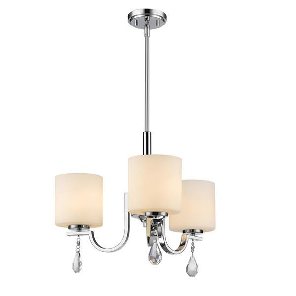 Golden Lighting Evette 3-Light Chandelier with Opal Glass - Chrome