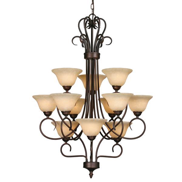 Golden Lighting 12-Light Chandelier with Tea Stone Glass - Rubbed Bronze