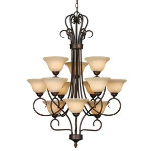 Golden Lighting 12-Light Chandelier with Tea Stone Glass - Rubbed Bronze