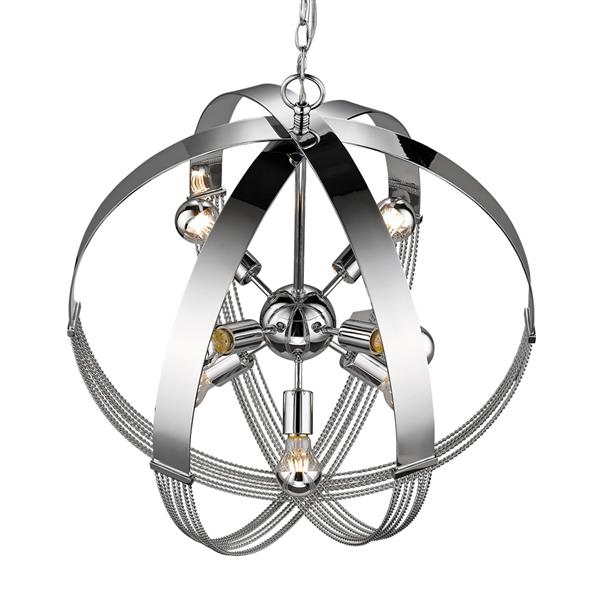 Golden Lighting Carter 8-Light Pendant - Chrome
