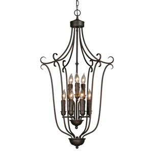 Caged Foyer 9-Light Chandelier with Candlesticks - Bronze