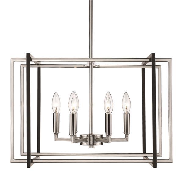 Golden Lighting Tribeca 6-Light Chandelier - Pewter/Black