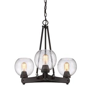 Golden Lighting Galveston 3-Light Chandelier with Glass - Bronze