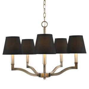 Golden Lighting Waverly 5-Light Chandelier with Tuxedo Shade - Aged Brass