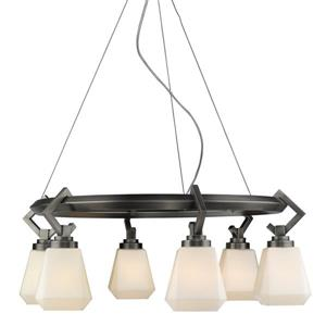 Hollis 6-Light Chandelier with Opal Glass - Aged Steel
