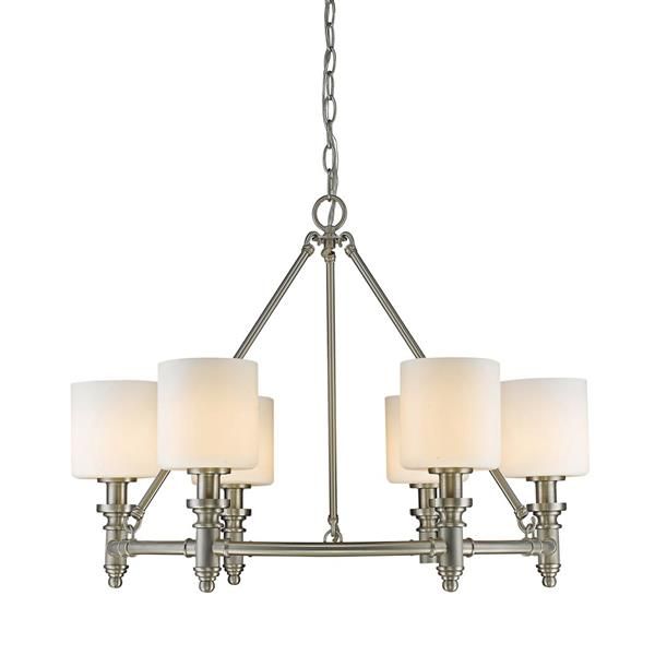 Golden Lighting Beckford 6-Light Chandelier with Opal Glass - Pewter