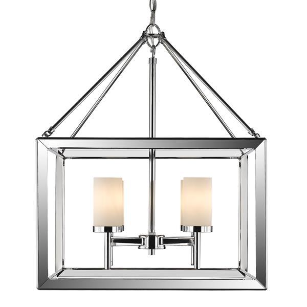 Golden Lighting Smyth 4-Light Chandelier with Glass - Chrome