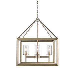 Golden Lighting Smyth 4-Light Chandelier with Glass - White Gold