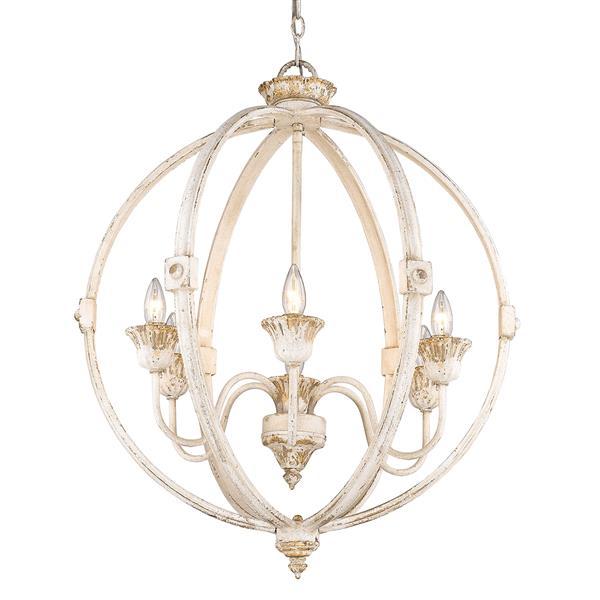Golden Lighting Jules 6-Light Chandelier - Antique Ivory