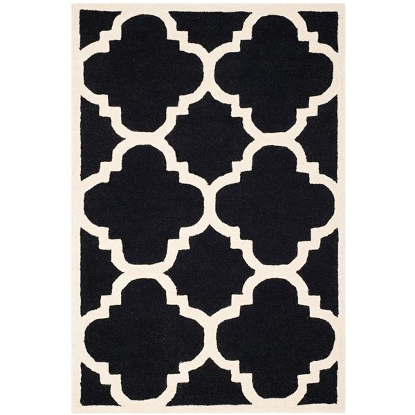 Safavieh Cambridge Trellis Rug - 4' x 6' - Wool - Black