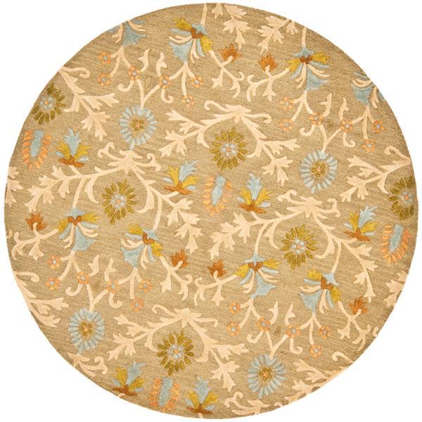 Safavieh Cambridge Floral Rug - 4' x 4' - Wool - Beige