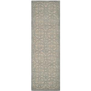 Cambridge Geometric Rug - 2.5' x 8' - Wool - Dusty Blue