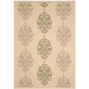 Courtyard Damask Rug - 9' x 12' - Polypropylene - Green