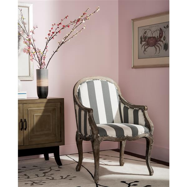 Safavieh Esther Arm Chair with Awning Stripes and Nail Heads - Grey