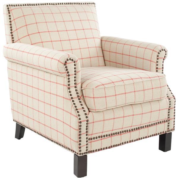 Safavieh Easton Club Chair with Nail Heads - Brass/Orange