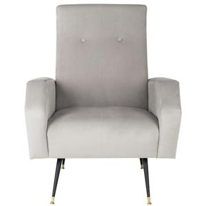Safavieh Aida Velvet Retro Accent Chair - Grey