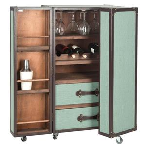 Grayson Wood Bar Cabinet - Green