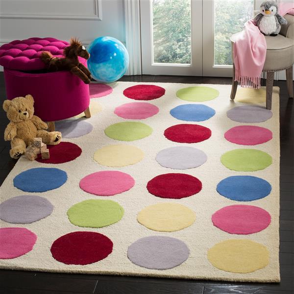 Safavieh Kids Polka Dot Rug - 8' x 10' - Wool - Ivory
