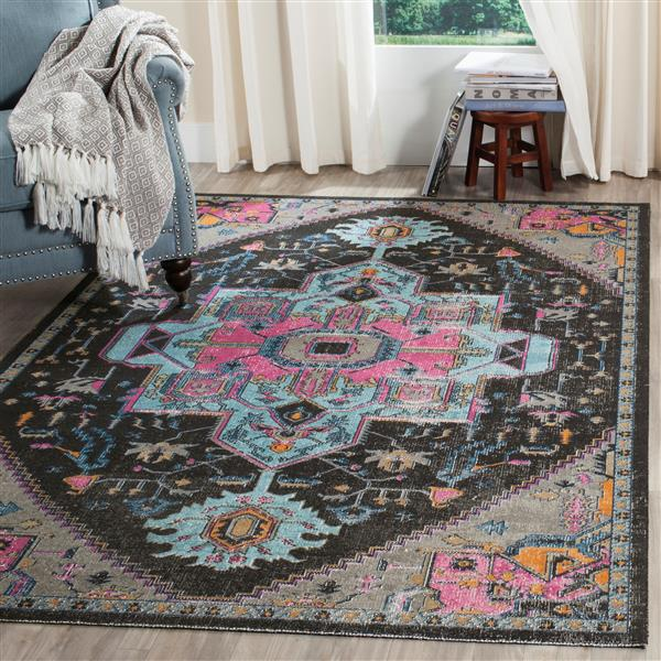 Safavieh Artisan Floral Rug - 4' x 6' - Polypropylene - Light Gray