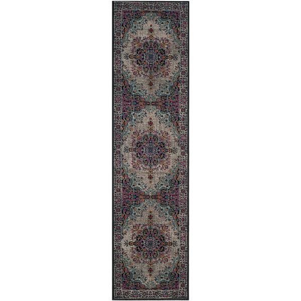 Safavieh Artisan Floral Rug - 2.2' x 8' - Polypropylene - Gray