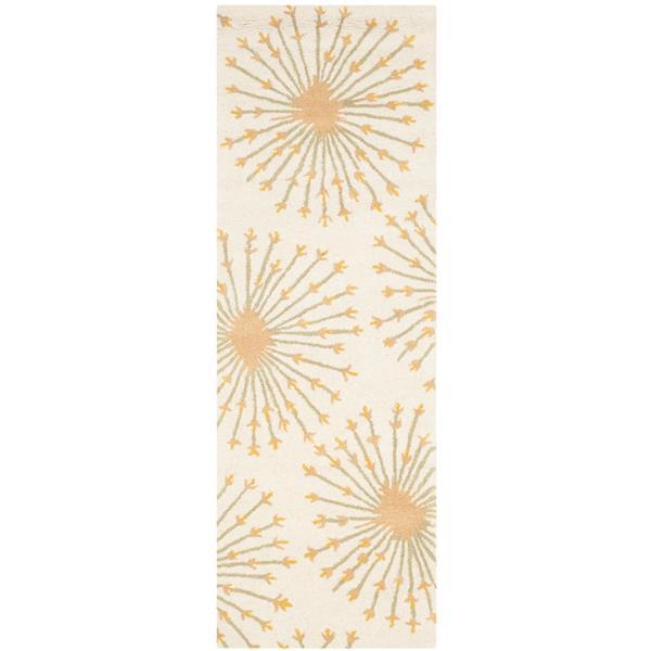 Safavieh Bella Floral Rug - 2.3' x 7' - Wool - Gold