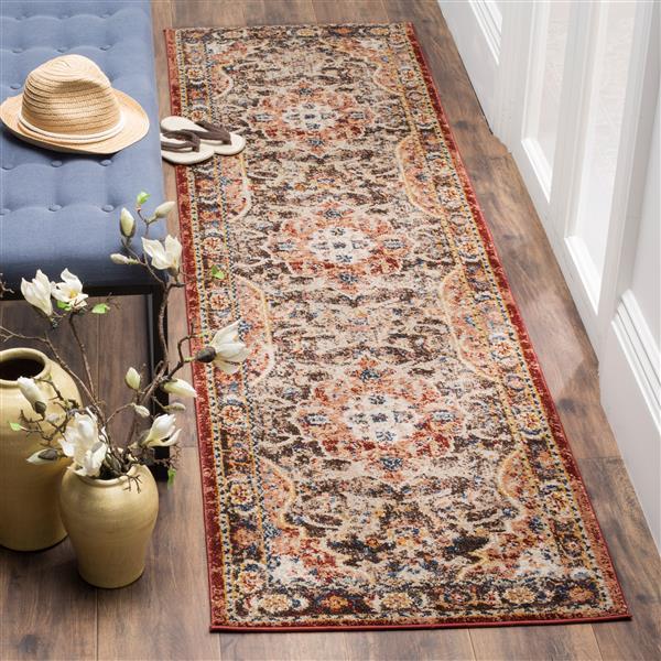 Safavieh Bijar Floral Rug - 2.3' x 12' - Polypropylene - Brown