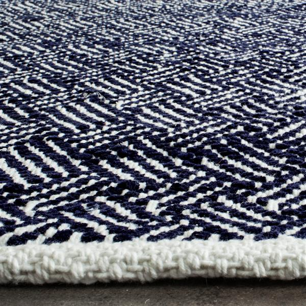 Safavieh Boston Geometric Rug - 2.3' x 11' - Cotton - Navy Blue