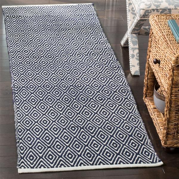 Safavieh Boston Geometric Rug - 2.3' x 7' - Cotton - Navy Blue