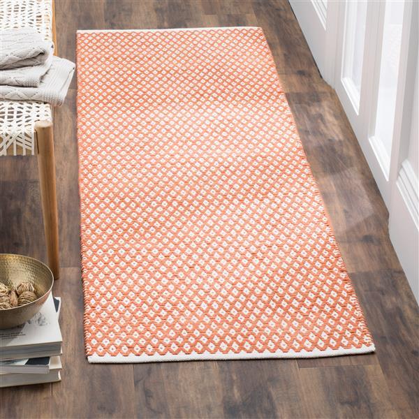Safavieh Boston Geometric Rug - 2.3' x 11' - Cotton - Orange