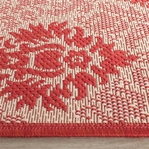 Safavieh Courtyard Rug - 4' x 5.6' - Polypropylene - Red/Natural