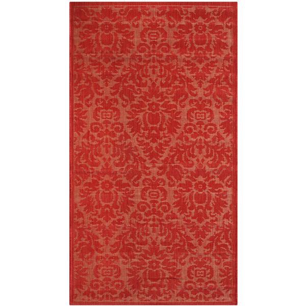 Safavieh Courtyard Damask Rug - 2.6' x 5' - Polypropylene - Red