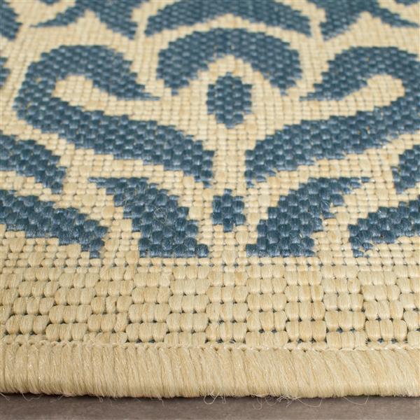 Safavieh Courtyard Rug - 4' x 5.6' - Polypropylene - Blue/Natural