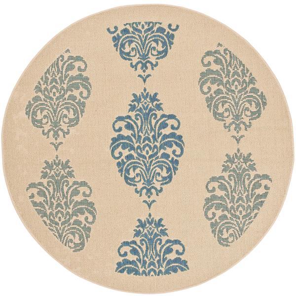 Safavieh Courtyard Rug - 5.3' x 5.3' - Polypropylene - Blue/Natural