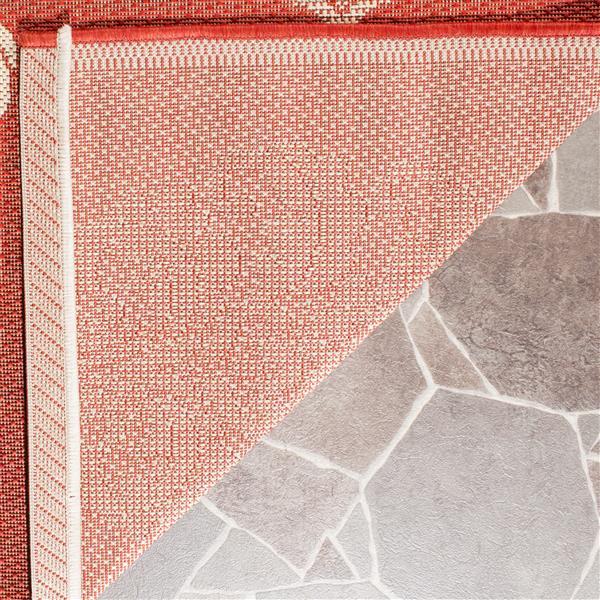 Safavieh Courtyard Rug - 5.3' x 5.3' - Polypropylene - Red/Natural