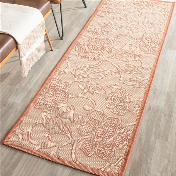Safavieh Courtyard Floral Rug - 2.3' x 6.6' - Polypropylene - Natural