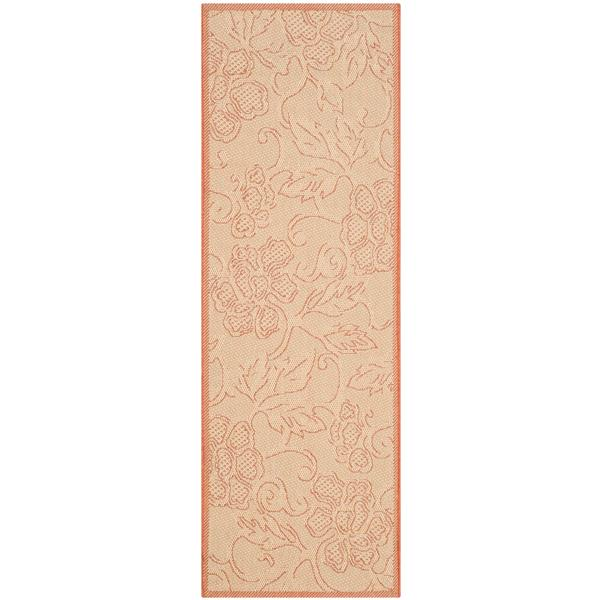 Safavieh Courtyard Floral Rug - 2.3' x 10' - Polypropylene - Natural