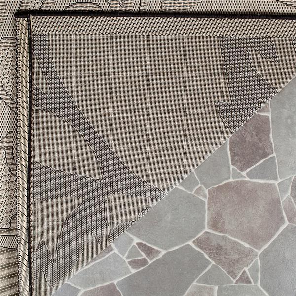 Safavieh Courtyard Rug - 2.3' x 6.6' - Polypropylene - Sand/Black