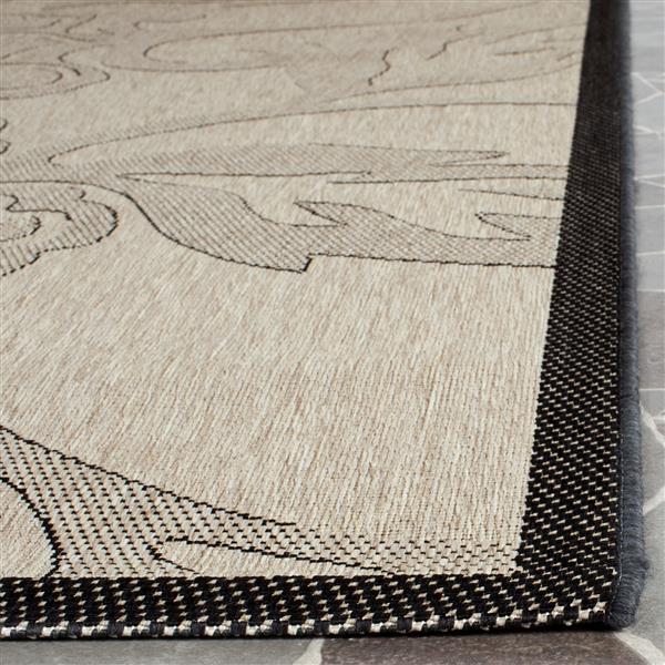 Safavieh Courtyard Rug - 5.3' x 5.3' - Polypropylene - Sand/Black