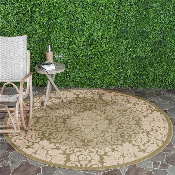 Safavieh Courtyard Rug - 5.3' x 5.3' - Polypropylene - Olive/Natural