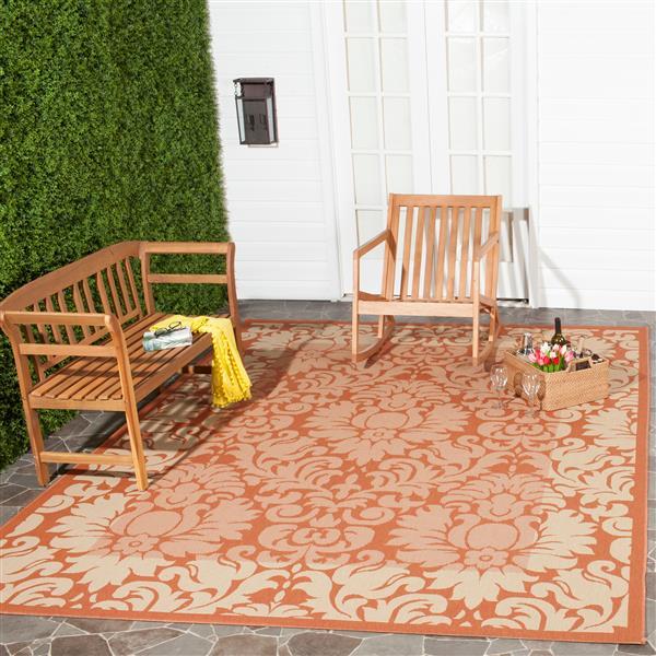 Safavieh Courtyard Rug - 4' x 5.6' - Polypropylene - Terracotta