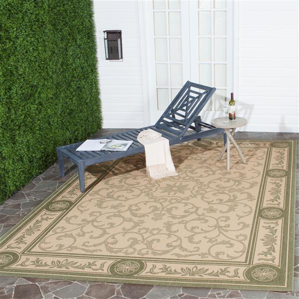 Safavieh Courtyard Rug - 4' x 5.6' - Polypropylene - Olive/Natural