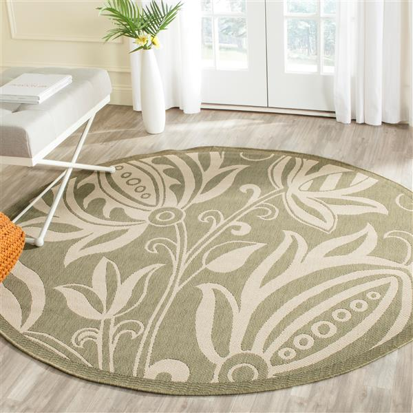 Safavieh Courtyard Rug - 5.3' x 5.3' - Polypropylene - Olive/Natural