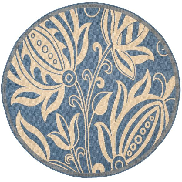 Safavieh Courtyard Rug - 5.3' x 5.3' - Polypropylene - Blue/Natural
