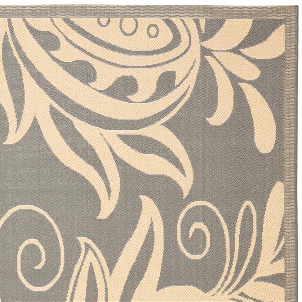 Safavieh Courtyard Rug - 5.3' x 7.6' - Polypropylene - Gray/Natural
