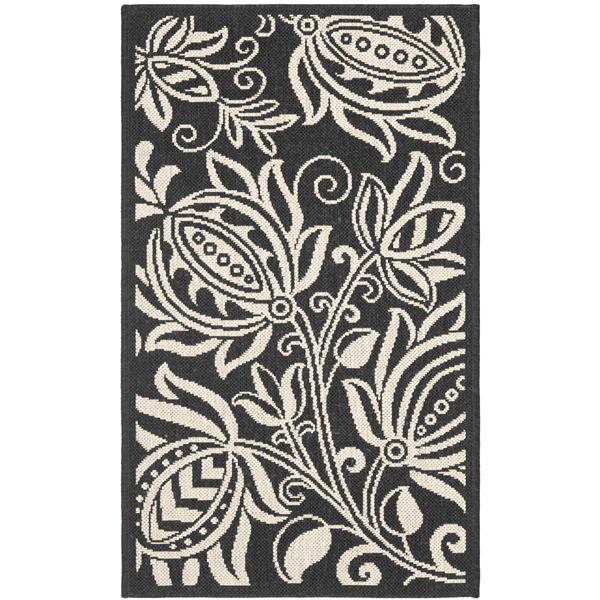 Safavieh Courtyard Floral Rug - 2.6' x 5' - Polypropylene - Black
