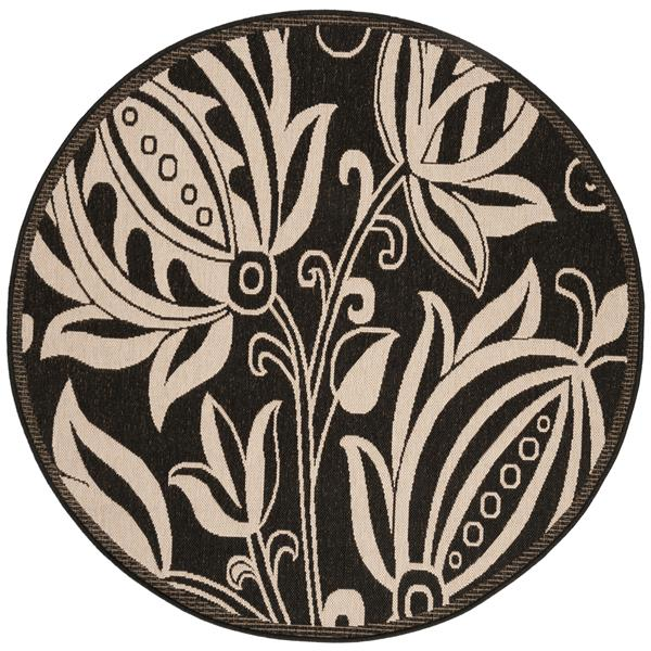 Safavieh Courtyard Floral Rug - 5.3' x 5.3' - Polypropylene - Black